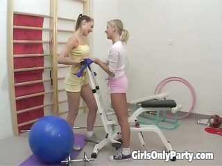 hawt lesbians making love in the gym