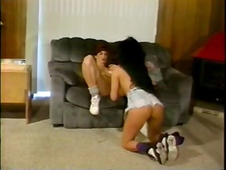 vintage lesbian gym workout - heather lee and
