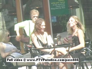 delightful stunning lesbos giving a kiss in public