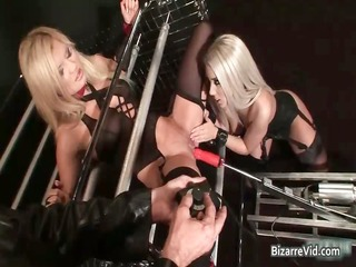 hot blond babes using a machine to fuck