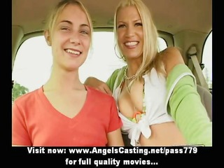 breasty golden-haired lesbian and shy girlfriend