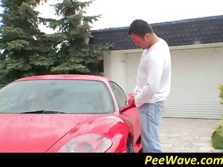 two hot lesbians get their ferrari peed on by a