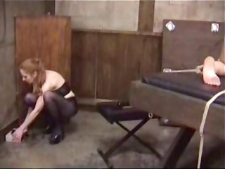 lesbians in bdsm fetish tie her up and tortures