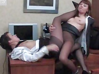 pantyhose lesbos in the office
